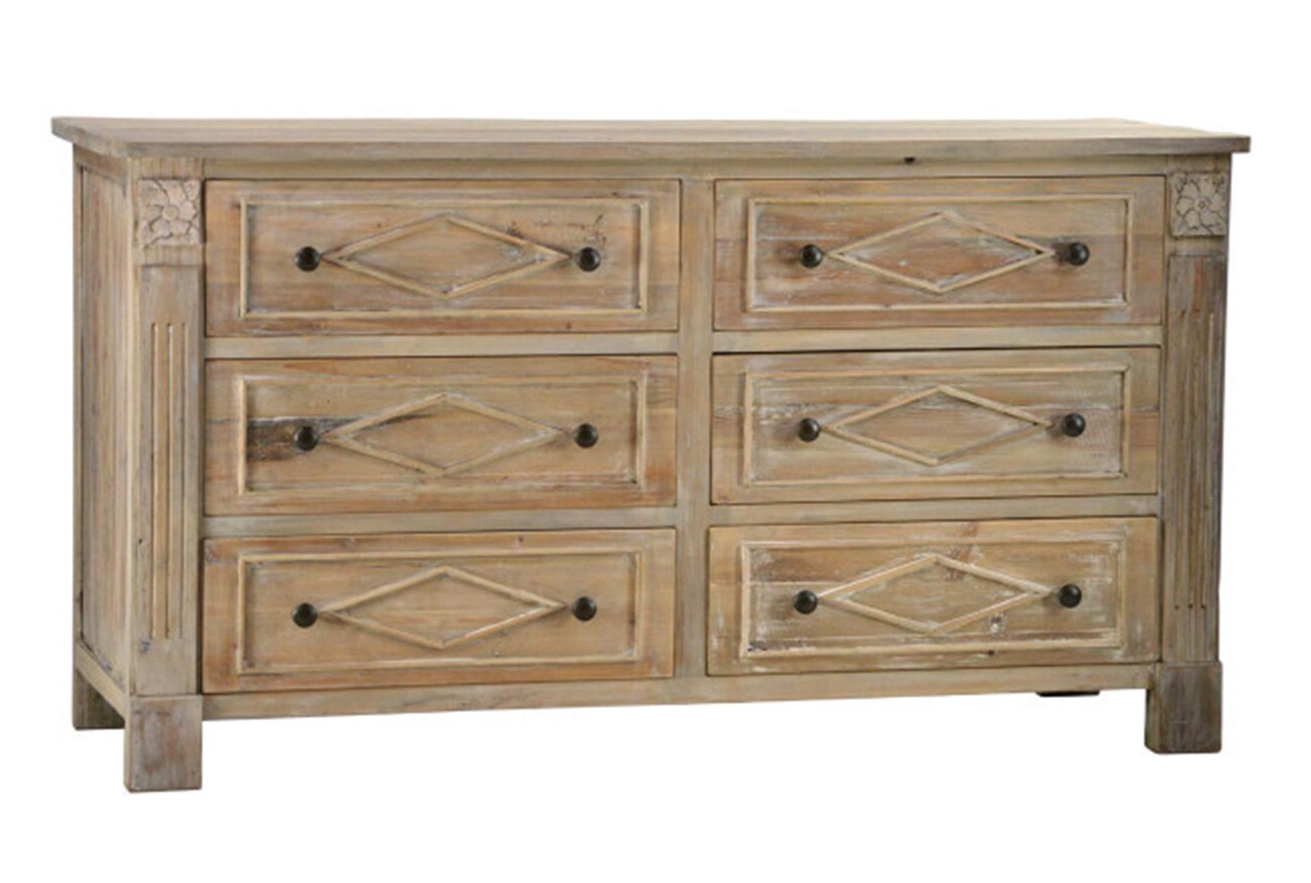 Pine Wood Natural 6 Drawer Dresser