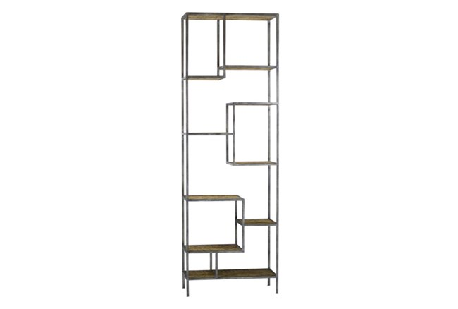Steel & Wood Grey Bookcase - 360