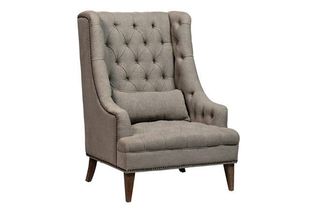Beige Linen Accent Chair - 360