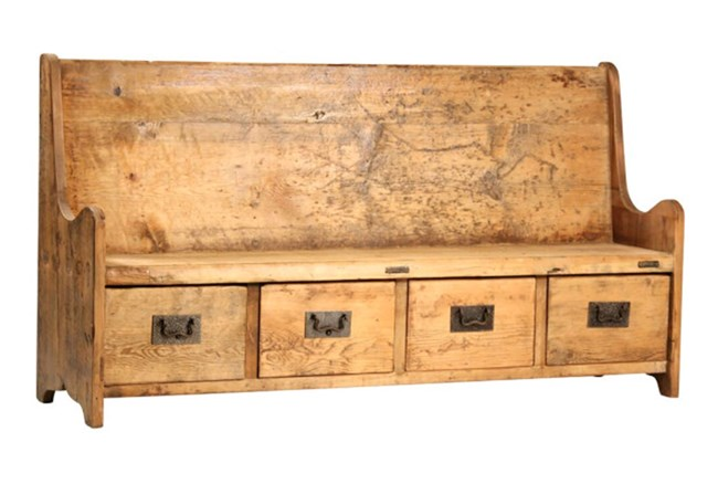 Reclaimed Wood Bench W/Drawers - 360