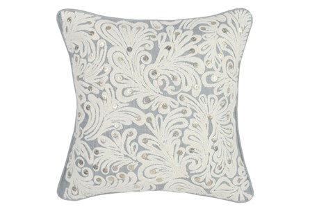 Accent Pillow-Grey Embellished Scroll 18X18