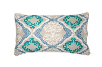 Accent Pillow-Aqua Embroidered Ogee 14X26