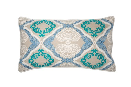 Accent Pillow-Aqua Embroidered Ogee 14X26 - Main
