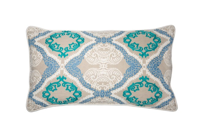 Accent Pillow-Aqua Embroidered Ogee 14X26 - 360