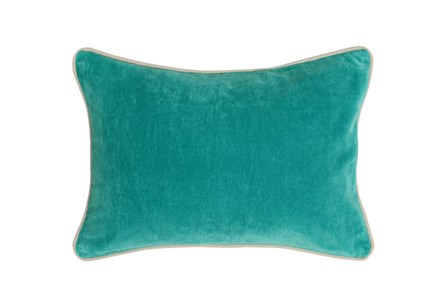 Accent Pillow-Aqua Washed Velvet 14X20 - Main