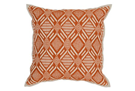 Accent Pillow-Carrot Diamond Print 18X18