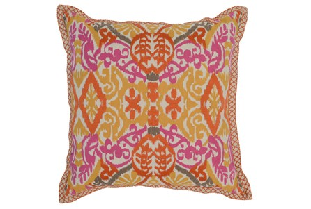 Accent Pillow-Mango & Fuschia Ikat Border 22X22