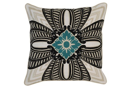 Accent Pillow-Onyx & Surf Medallion 22X22