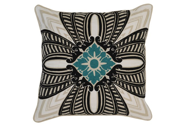 Accent Pillow-Onyx & Surf Medallion 22X22 - 360