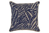 Accent Pillow-Indigo Abstract Leaves 22X22 - Signature