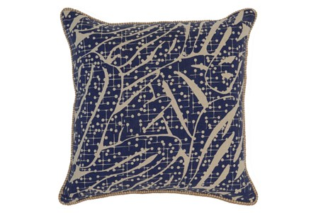 Accent Pillow-Indigo Abstract Leaves 22X22