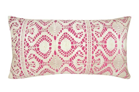 Accent Pillow-Fuschia Lace 14X26 - Main