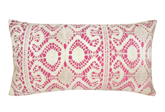 Accent Pillow-Fuschia Lace 14X26 - 360