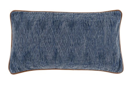 Accent Pillow-Leather Trim Aged Denim 14X26 - Main
