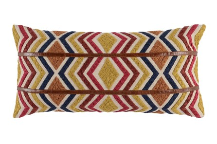 Accent Pillow-Leather Diamond Tribe Multi 14X26 - Main