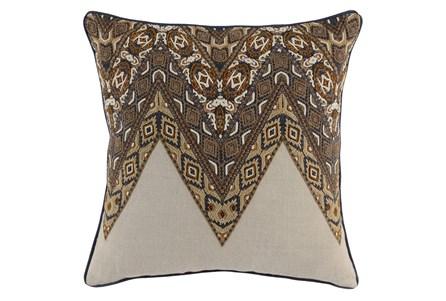 Accent Pillow-Leather Trim Boho Cognac 22X22
