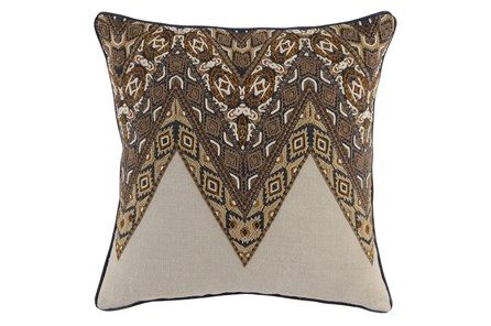 Accent Pillow-Leather Trim Boho Cognac 22X22