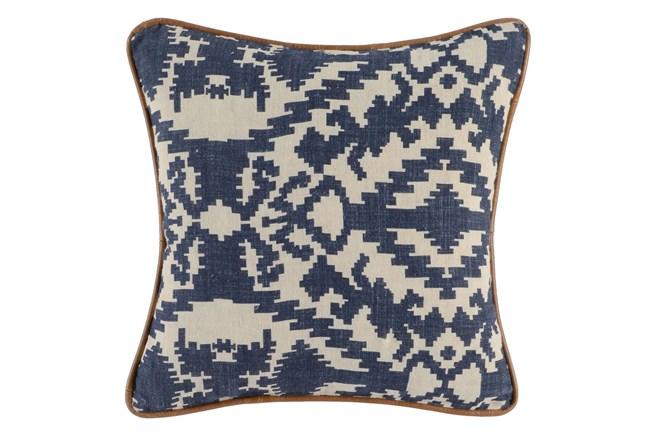 Accent Pillow-Leather Trim Denim Tribe 18X18 - 360