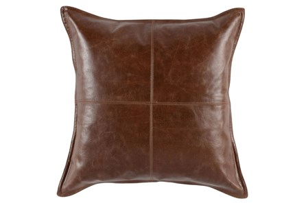 Accent Pillow-Cognac Leather 22X22 - Main