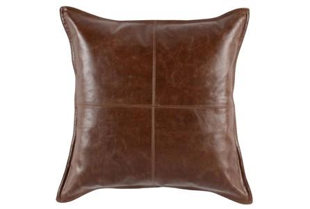 22X22 Cognac Brown Pieced Leather Throw Pillow - Main