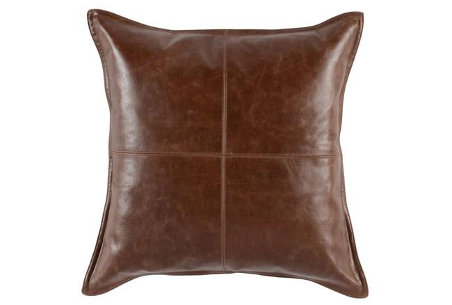 22X22 Cognac Brown Pieced Leather Throw Pillow - 360
