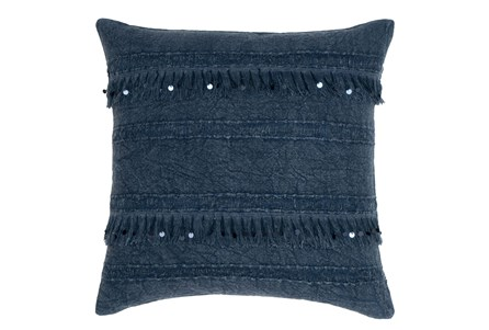Accent Pillow-Denim Tassel Stripes 22X22
