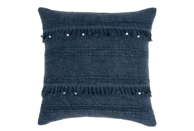Accent Pillow-Denim Tassel Stripes 22X22 - 360