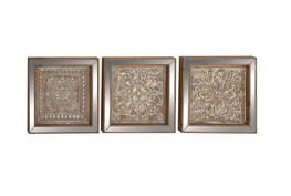 3 Piece Set Metal Mirror Wall Plaques