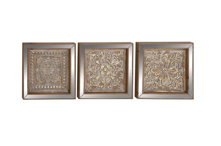 3 Piece Set Metal Mirror Wall Plaques