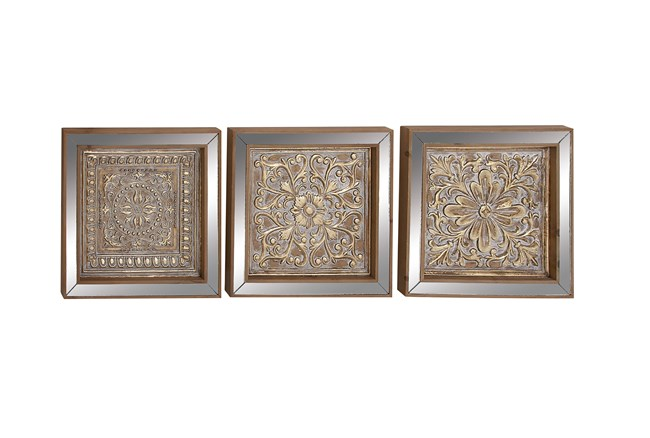 3 Piece Set Metal Mirror Wall Plaques - 360