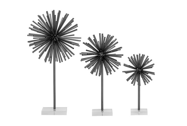 3 Piece Set Black Metal Scupture - 360