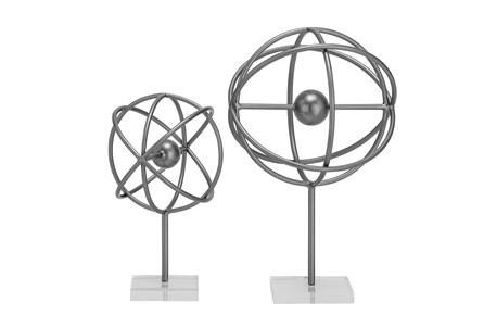 2 Piece Set Black Metal & Acrylic Sculpture