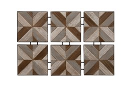 6 Piece Set Wood Metal Wall Decor