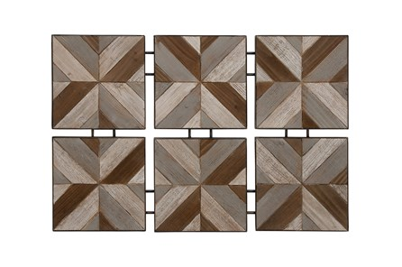 6 Piece Set Wood Metal Wall Decor - Main