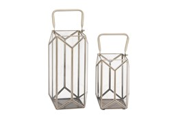 2 Piece Set Metal Glass Lanterns