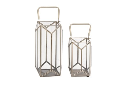 2 Piece Set Metal Glass Lanterns - Main