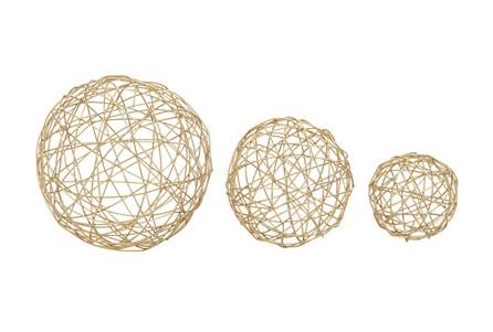 3 Piece Set Gold Spheres