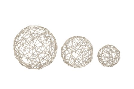 3 Piece Set Silver Spheres - Main