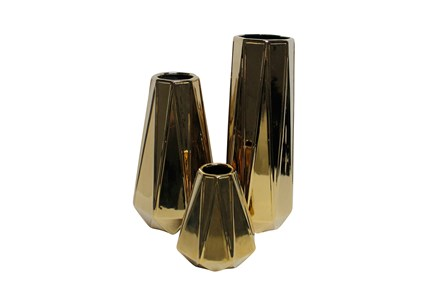 3 Piece Set Ceramic Gold Vases - Main