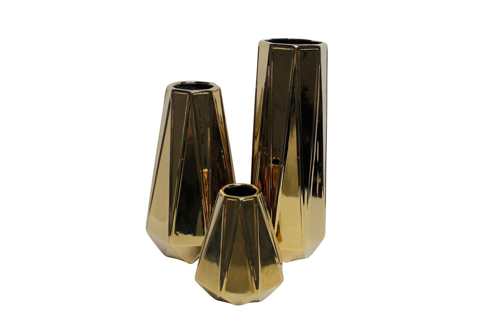 3 Piece Set Ceramic Gold Vases