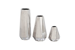 3 Piece Set Ceramic Silver Vases