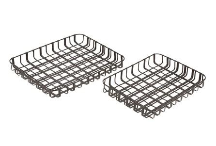 2 Piece Set Metal Trays