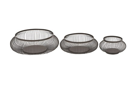 3 Piece Set Black Metal Baskets