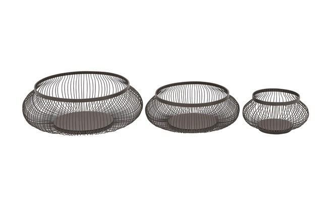 3 Piece Set Black Metal Baskets - 360