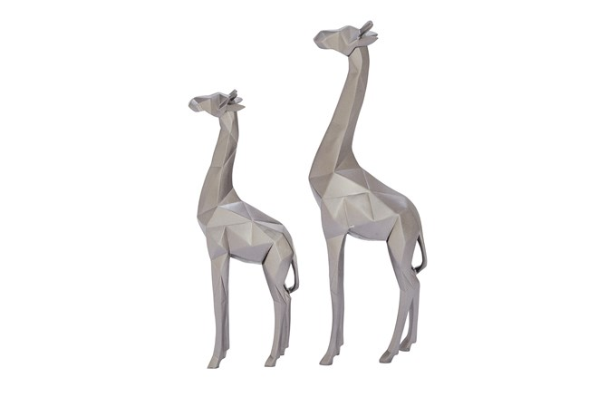 2 Piece Set Silver Giraffe - 360