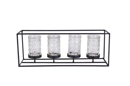 6 Inch Metal Glass Candleholder