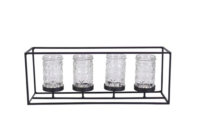 6 Inch Metal Glass Candleholder - 360
