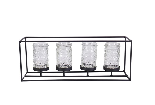 6 Inch Metal Glass Candleholder - 360