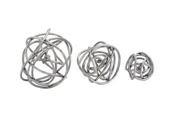 3 Piece Set Metal Orbs