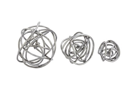 3 Piece Set Metal Orbs